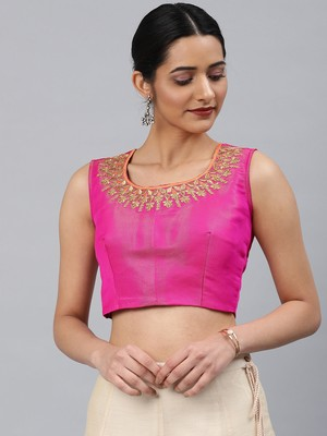 Pink embroidered Art Silk padded readymade blouse