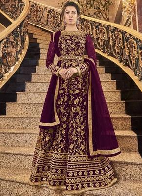 purple Net Anarkali Salwar Kameez