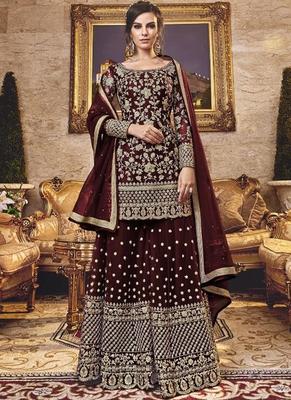 brown Net Pakistani Salwar Kameez