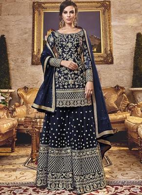 Blue Net Pakistani Salwar Kameez