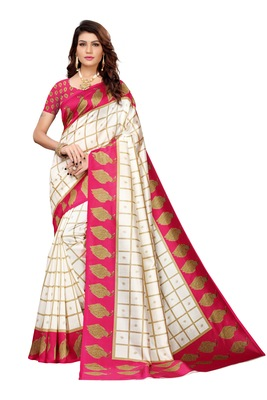 Off White And Pink Printed art silk Indian Style Saree With Blouse Piece