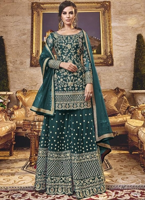 Light green Net Pakistani Salwar Kameez