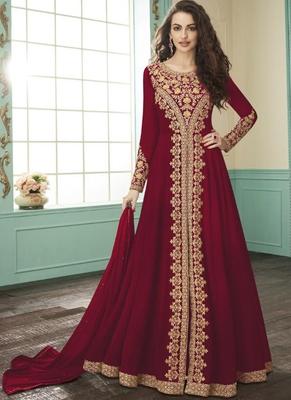 Blood Red Georgette Pakistani Salwar Kameez
