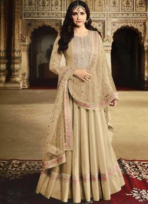 Cream Silk Blend Anarkali Salwar Kameez