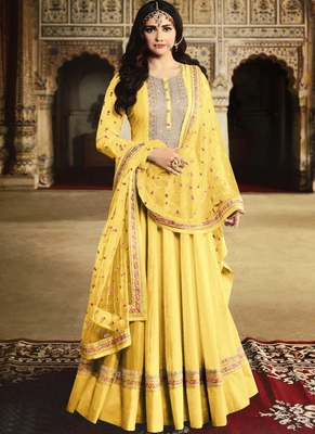 Yellow Silk Blend Anarkali Salwar Kameez