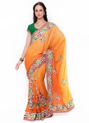 Orange embroidered jacquard saree with blouse