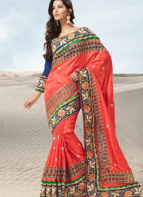 Orange embroidered jacquard saree with blouse