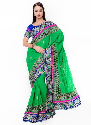 Green embroidered jacquard saree with blouse