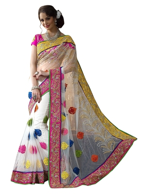 Off white embroidered net saree with blouse