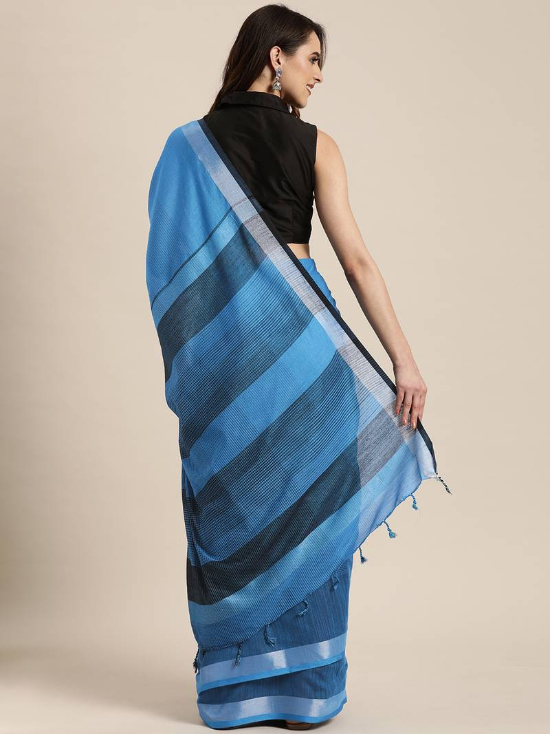 sky blue woven linen saree with blouse - vastranand - 3236045