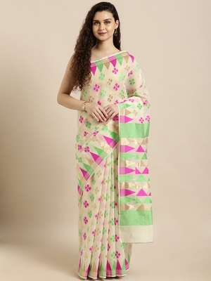 Cream woven cotton silk saree with blouse