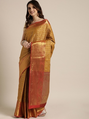 Mustard woven silk blend saree with blouse