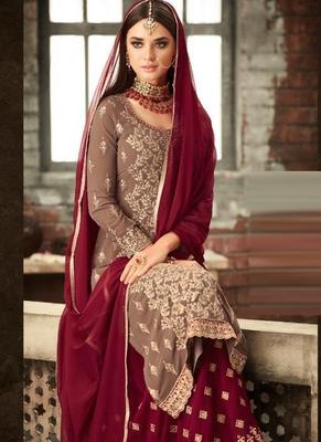 Beige Georgette Pakistani Salwar Kameez