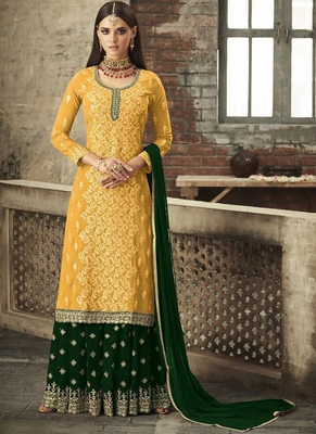 Yellow Georgette Pakistani Salwar Kameez