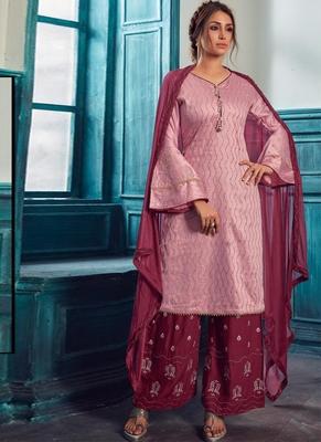 Pink Satin Pakistani Salwar Kameez