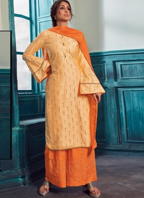 Light Orange Satin Pakistani Salwar Kameez