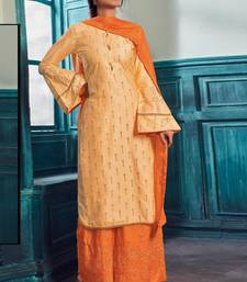 Light Orange Satin Pakistani Salwar Kameez