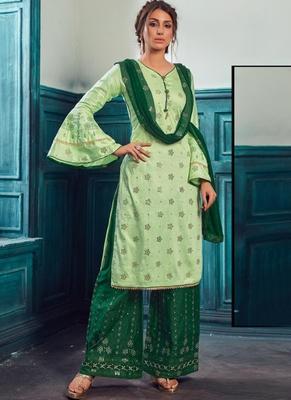 Light Green Satin Pakistani Salwar Kameez