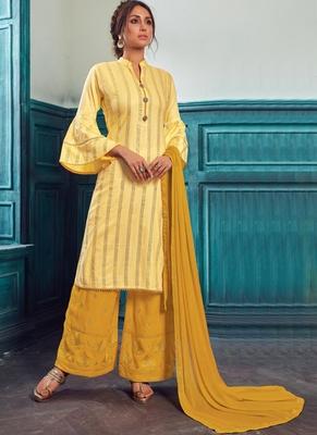 Light Yellow Satin Pakistani Salwar Kameez