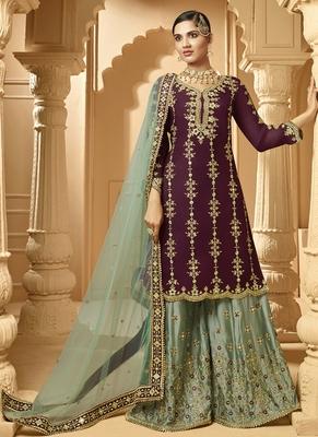 purple Georgette Pakistani Salwar Kameez