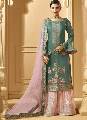 Turquoise Georgette Pakistani Salwar Kameez