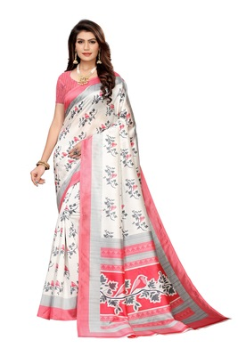 White And Pink Printed art silk Indian Style Saree With Blouse Piece