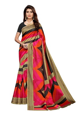 Multi Color Printed art silk Indian Style Saree With Blouse Piece