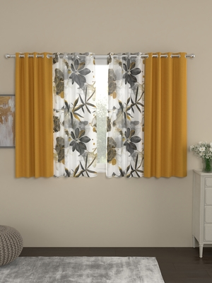 ROSARA HOME Sumo Matty Voile Pack of 4 Window Curtains