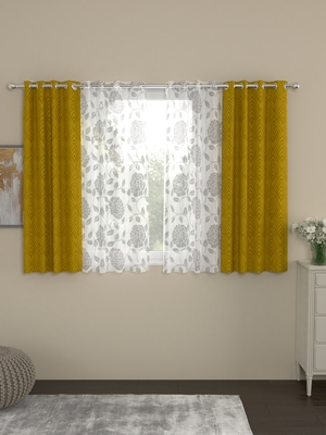 ROSARA HOME Ottoman Belle Pack of 4 Window Curtains