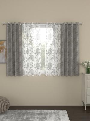 ROSARA HOME Regal Belle Pack of 4 Window Curtains