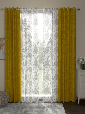 ROSARA HOME Ottoman Belle Pack of 4 Door Curtains