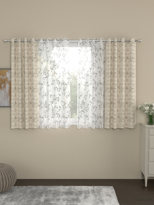ROSARA HOME Reggio Emily Pack of 4 Window Curtains
