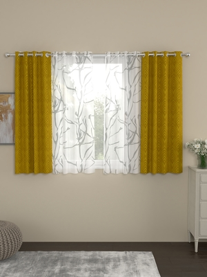 ROSARA HOME Ottoman Wallace Pack of 4 Window Curtains
