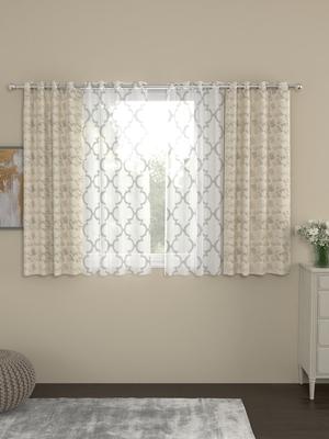 ROSARA HOME Reggio Bruno Pack of 4 Window Curtains