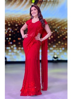 Red Embroidered Work Georgette Bollywood Saree With Blouse