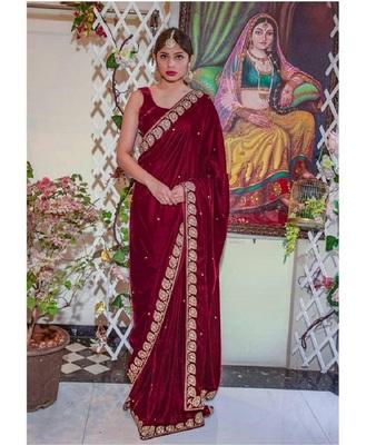 Maroon plain velvet saree with blouse