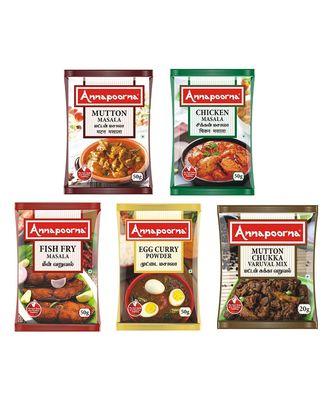 Annapoorna Mutton Masala, Chicken Masala, Fish Fry Masala, Egg Masala and Mutton Chukka Masala (Combo of 5)
