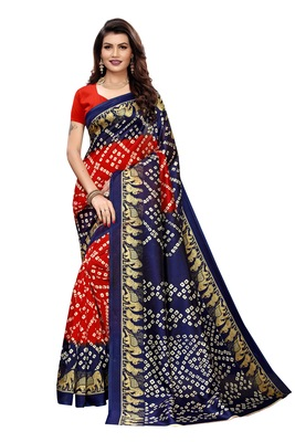 Red Printed art silk Indian Style Saree With Blouse Piece