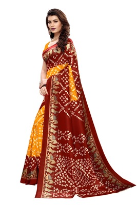 Yellow Printed art silk Indian Style Saree With Blouse Piece