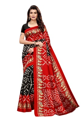 Black Printed art silk Indian Style Saree With Blouse Piece
