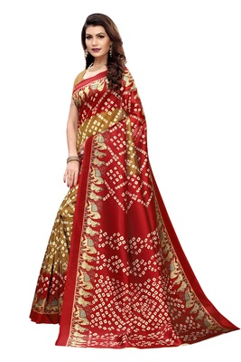 Beige Printed art silk Indian Style Saree With Blouse Piece