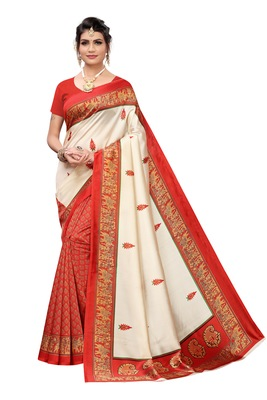 Off White And Orange Printed art silk Indian Style Saree With Blouse Piece