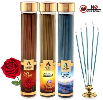 The Aroma Factory Pooja Agarbatti Combo of 3 : Rose, Kesar Chandan Saffron Sandal and Fresh Active Incense Sticks