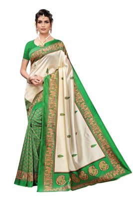 Orange And Green Printed art silk Indian Style Saree With Blouse Piece