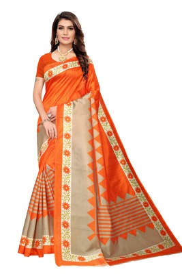 Orange Printed art silk Indian Style Saree With Blouse Piece