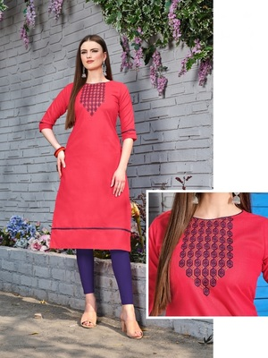 Pink Cotton Stitched Embroideri Kuri For Summer
