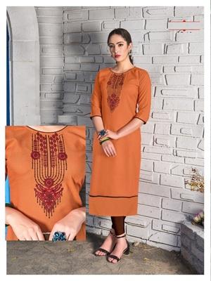 Orange Cotton Stitched Embroideri Kuri For Summer