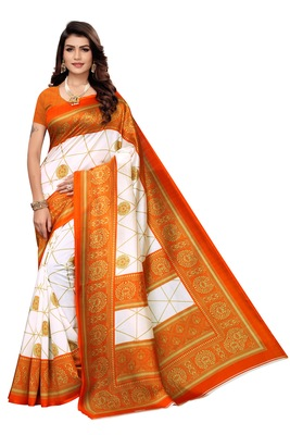 White Printed art silk Indian Style Saree With Blouse Piece