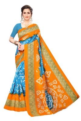 Sky Orange Printed art silk Indian Style Saree With Blouse Piece