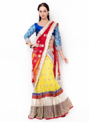 Yellow embroidered net semi stitched lehenga
